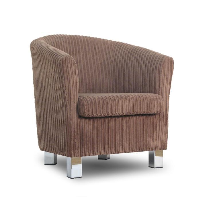 Small fabric sofa tub chair jumbo cord bark chrome legs for Small fabric chair