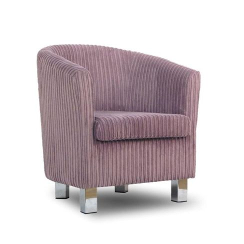 Small Fabric Sofa Tub Chair Jumbo Lilac Chrome Legs
