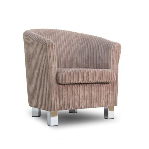 Small Fabric Sofa Tub Chair Jumbo Mink Chrome Legs