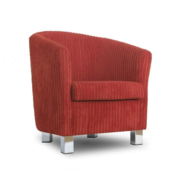 Small Fabric Sofas : Small Fabric Sofa Tub Chair Jumbo Cord Copper Chrome Legs