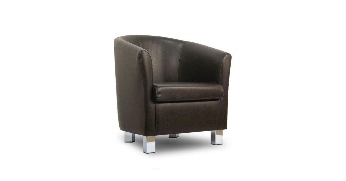 Faux Leather Sofa Tub Chair Badger Chrome Legs