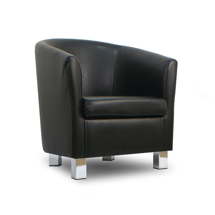 Small Leather Sofa Tub Chair Black Chrome Legs