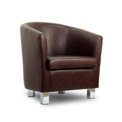 Small Leather Sofa Tub Chair Chocolate Chrome Legs