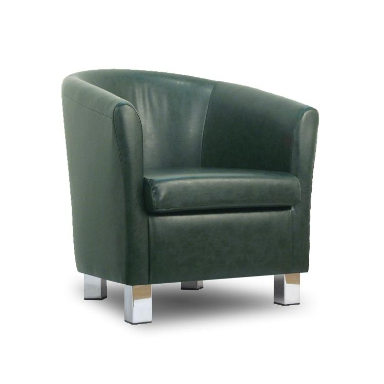 Small Leather Sofa Tub Chair Conifer Chrome Legs