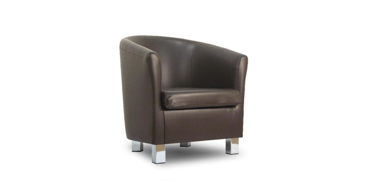 Small leather sofa tub chair dark brown chrome legs for Small leather chairs for living room