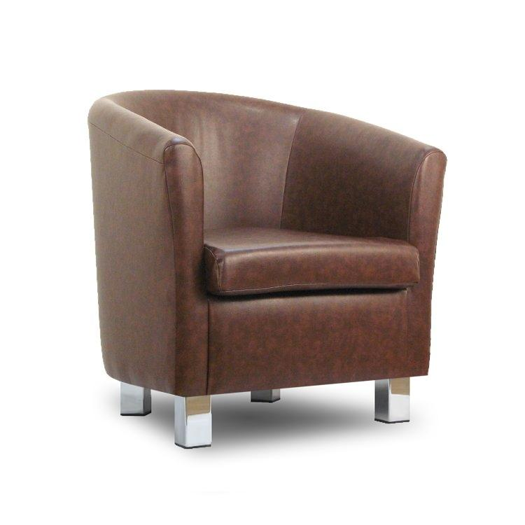 Small leather sofa tub chair mahogony chrome legs Small leather loveseat