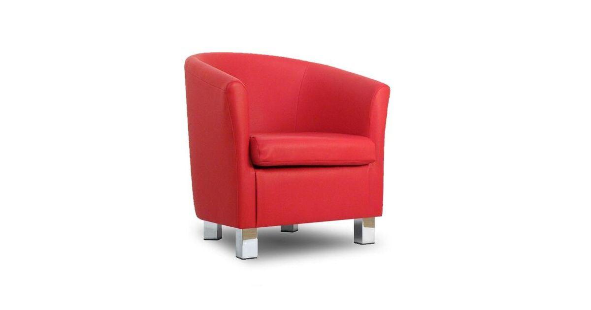Small Leather Sofa Tub Chair Red Chrome Legs
