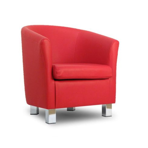Small Leather Sofa Tub Chair Red Chrome Legs