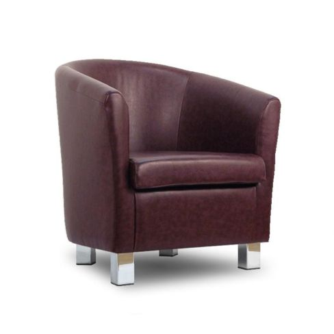 Small Leather Sofa Tub Chair Rosewood Chrome Legs