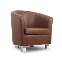 Small Leather Sofa Tub Chair Teak Chrome Legs