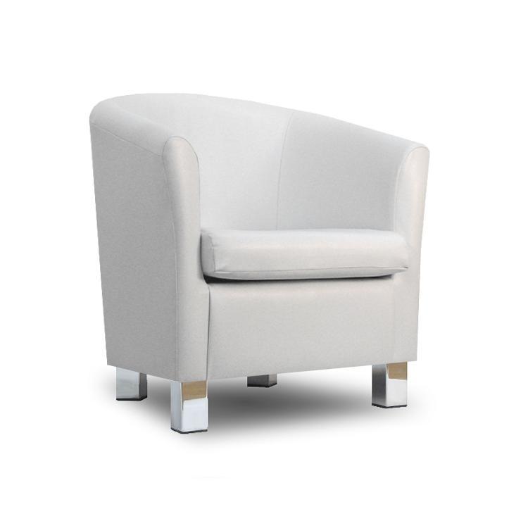 Small Leather Sofa Tub Chair White Chrome Legs
